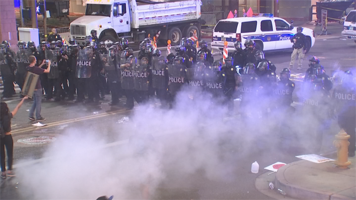 An independent firm will review the Phoenix Police Department's actions during the anti-Trump protest on Tuesday. (Source: 3TV/CBS 5)