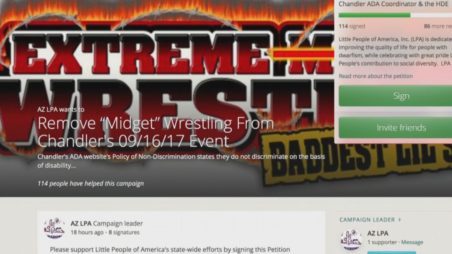 There's a petition to get rid of the wrestling from the event in Chandler. (Source: 3TV/CBS 5)