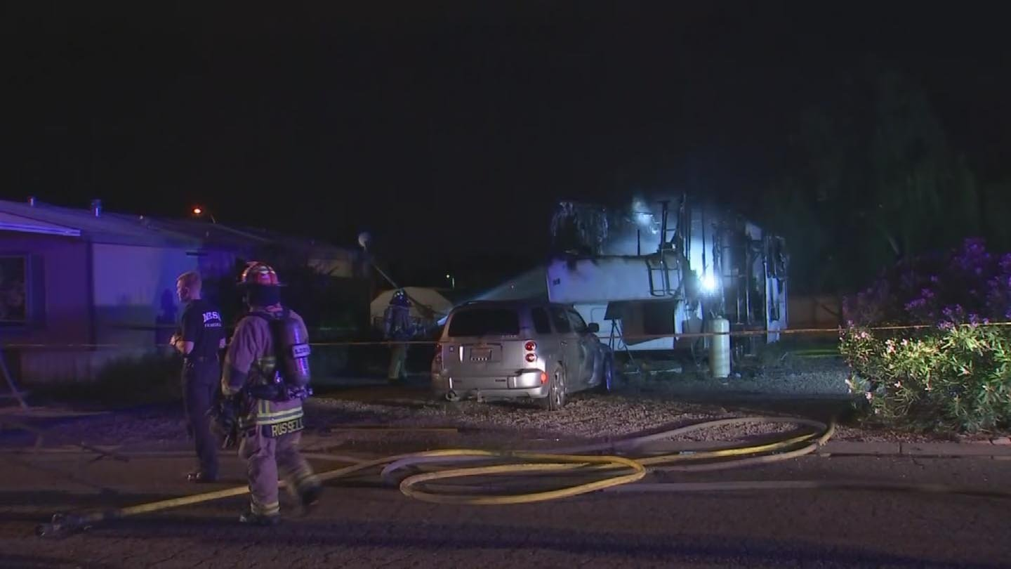One person is dead after a trailer caught fire in a Mesa mobile home park early Tuesday morning. (Source: 3TV/CBS 5)