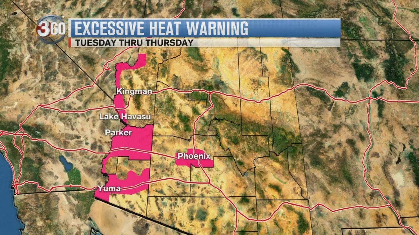 It could get as hot as 112 to 115 degrees in the southwest parts of Arizona. (Source: 3TV/CBS 5)