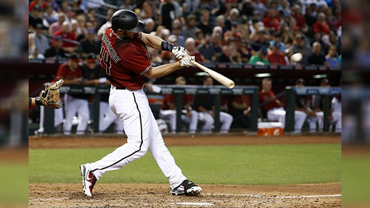 Diamondbacks' first baseman Paul Goldschmidt hits a home run at Chase Field. (Source: The Associated Press)