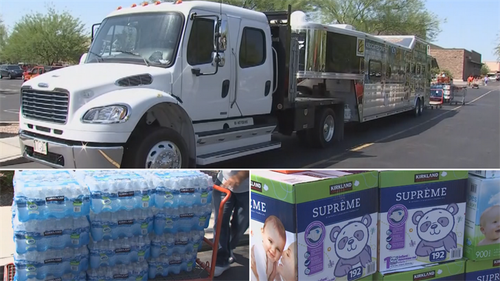 Workers with Associated Crafts/Willet Hauser Architectural Glass filled a huge trailer with snacks, diapers and clothes for those who need it after Hurricane Harvey slammed Texas. (Source: 3TV/CBS 5)