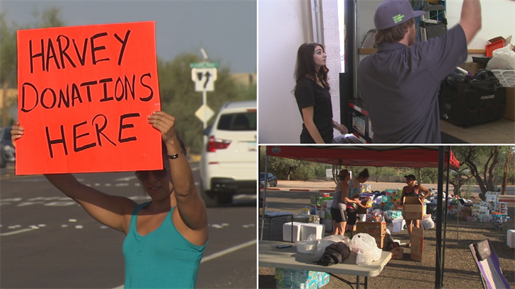 Texans who have moved to the Valley are out collecting donations for those who are impacted by Hurricane Harvey. (Source: 3TV/CBS 5)