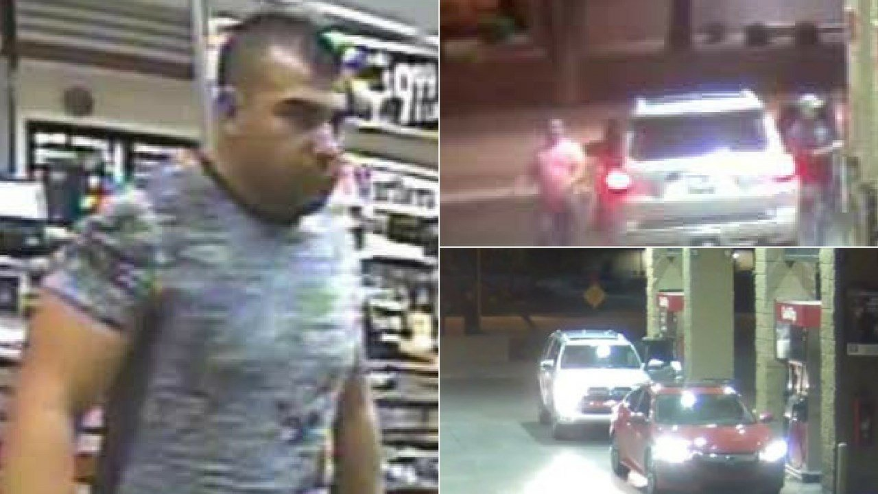 Mesa police are searching for two males who may have been involved in trying to install a gas pump skimmer. (Source: Mesa PD)
