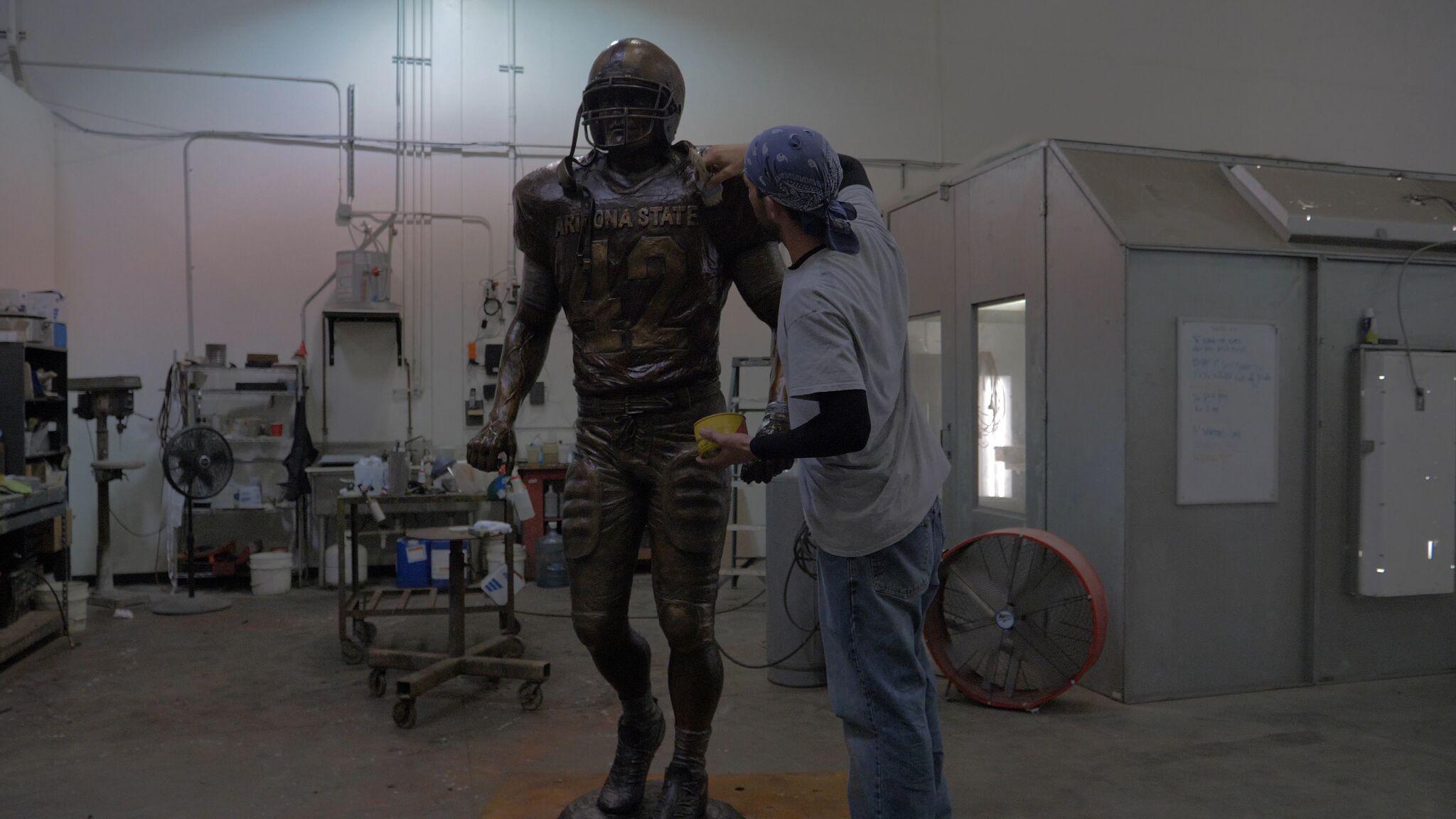 The statue receiving the final touches (Photo: Sun Devil Athletics)