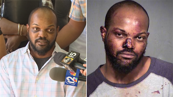 Daireus Stokes said he was beaten by police when he asked for a vehicle and badge number in downtown Phoenix. (Source: 3TV/CBS 5/Maricopa County Sheriff's Office)