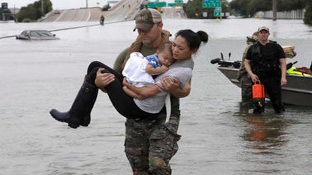 Hurricane Harvey floods Texas roads. (Source: AP)