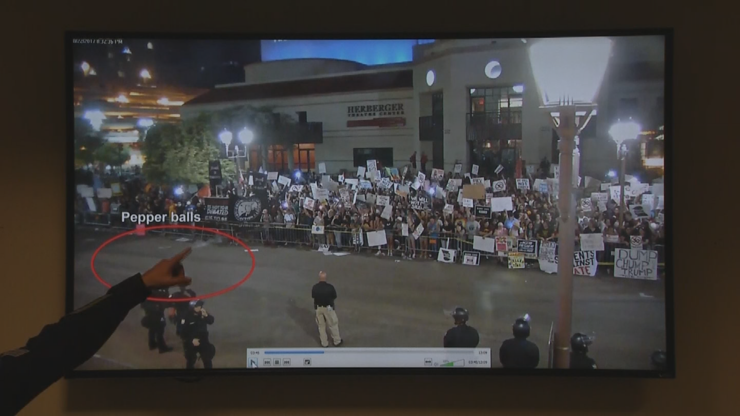 Police said they used pepper balls to disperse a crowd affiliated with Antifa. (Source: 3TV/CBS 5)