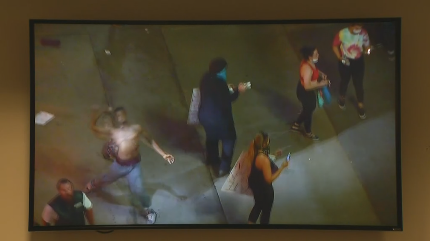 Different objects were thrown at police. (Source: 3TV/CBS 5)
