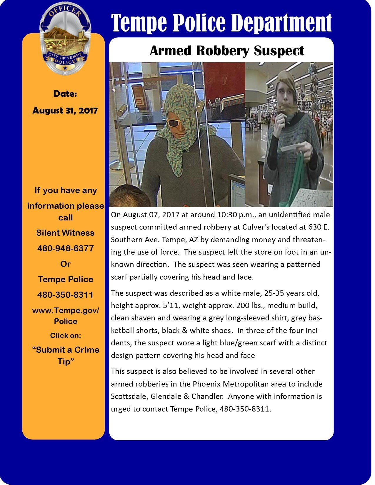 Tempe police put out this bulletin about the suspect. (Source: Tempe Police Department)