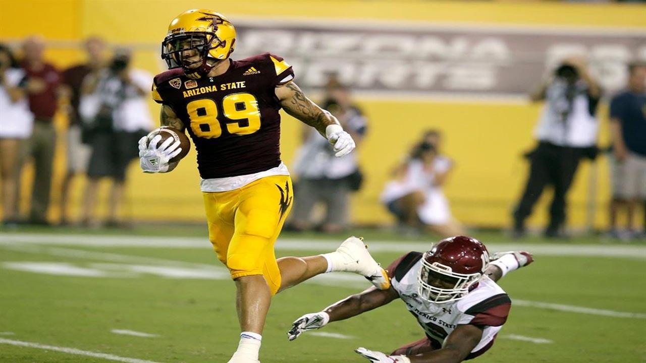 Arizona State wide receiver Jalen Harvey scores a 53-yard touchdown. (AP Photo/Rick Scuteri)