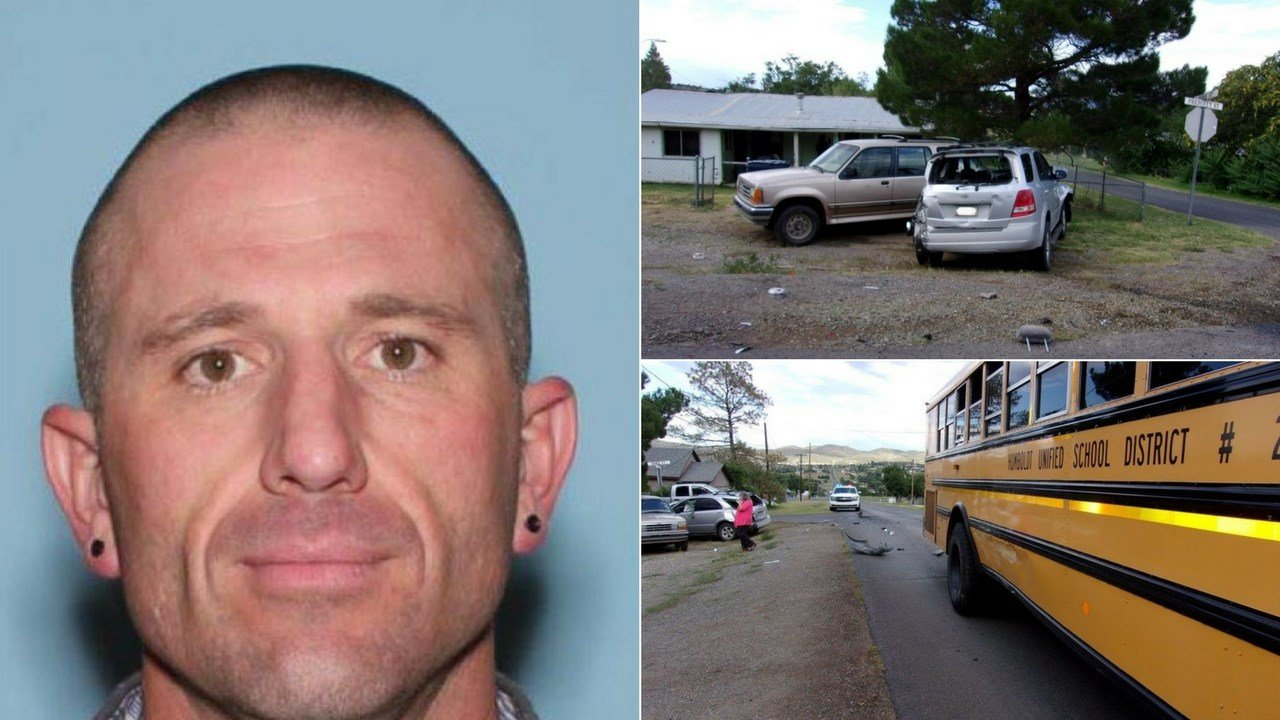 A 38-year-old man struck a school bus and an SUV before taking off on foot from the scene in Dewey. (Source: Yavapai County Sheriff's OffIce)