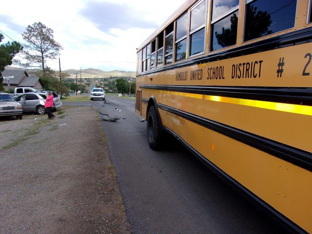 A Humboldt Unified School bus was traveling westbound on Prescott Street when it was struck by a Kia Sorento which ran a stop sign. (Source: YCSO)
