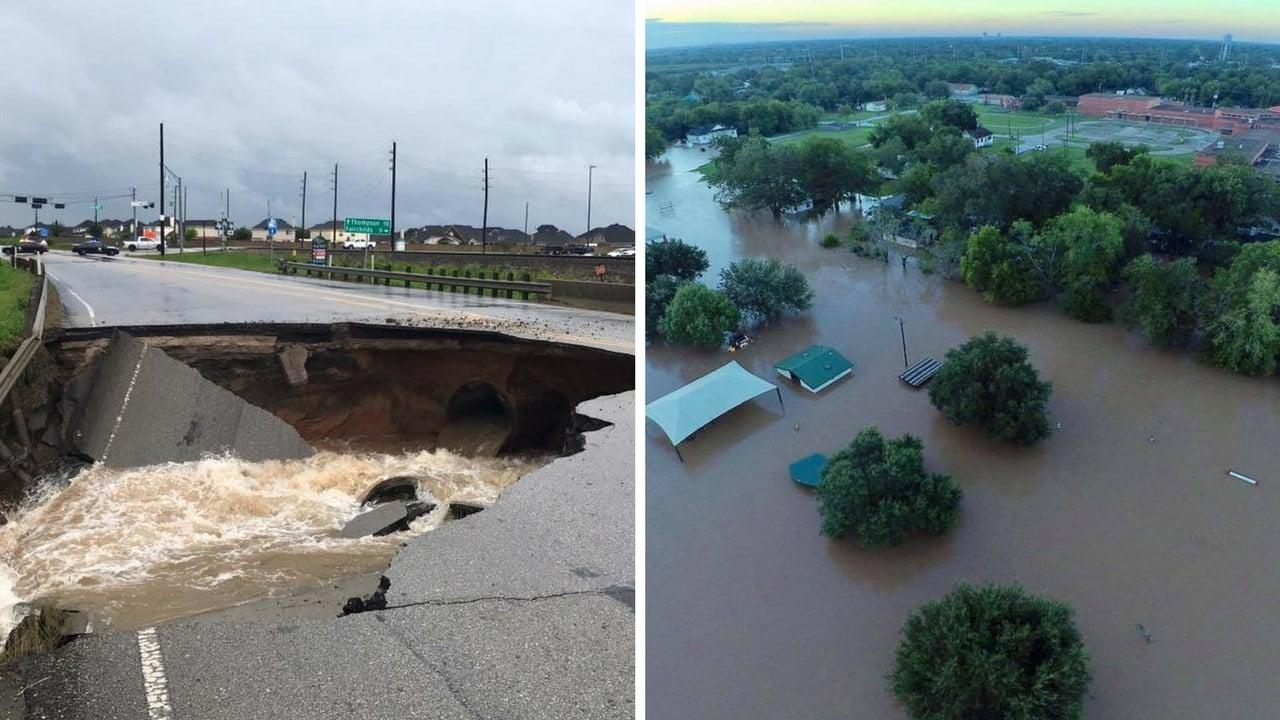 Sinkhole damaged road  and an overhead view of Rosenburg Texas. (Source: Rosenburg Police Dept.)