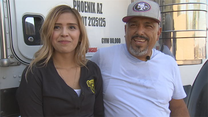 Luis Corona, of Phoenix, and his 18 wheeler have been driving the country for the last 15 years.   Now his journey is about to take him to Houston. (Source: 3TV/CBS 5)