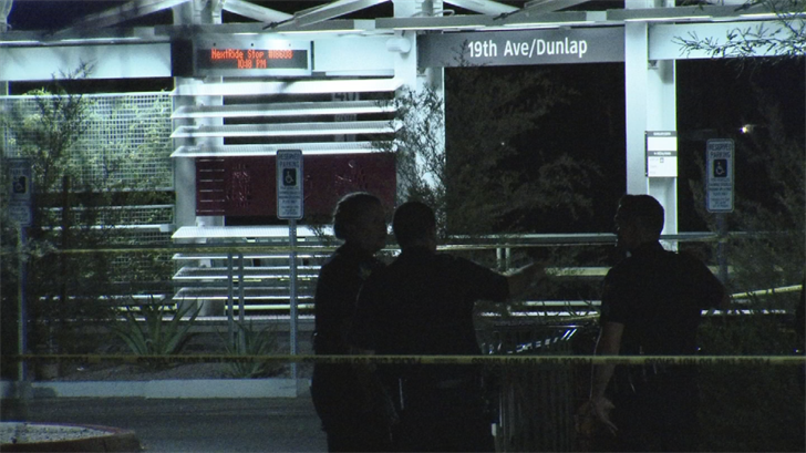 A man was in critical condition after he was stabbed near the light rail at 19th and Dunlap avenues Saturday night in Phoenix. (Source: 3TV/CBS 5)