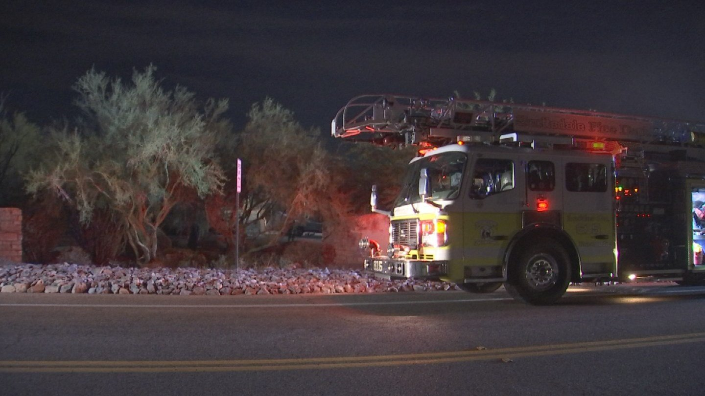 Two people are displaced after a first-alarm house fire in Scottsdale. (Source: 3TV/CBS 5)