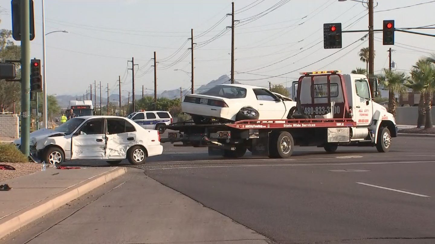 A pedestrian suffered serious injuries and three others are hurt after a two-vehicle accident in Phoenix. (Source: 3TV/CBS 5)