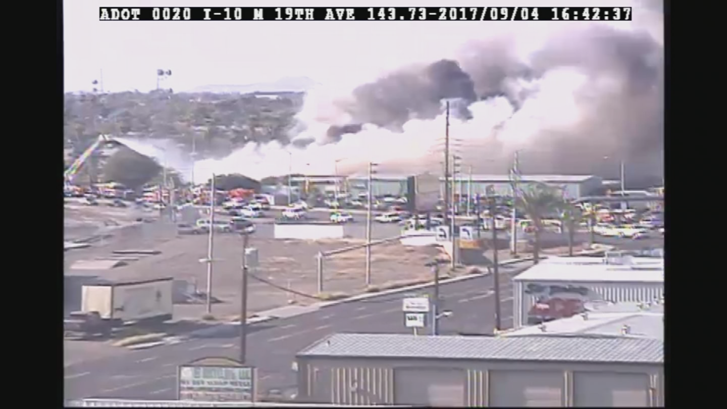 A fire broke out in Phoenix. (Source: Arizona Department of Transportation)