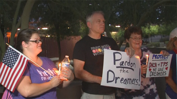 A vigil was held Monday night for DACA students. (Source: 3TV/CBS 5)