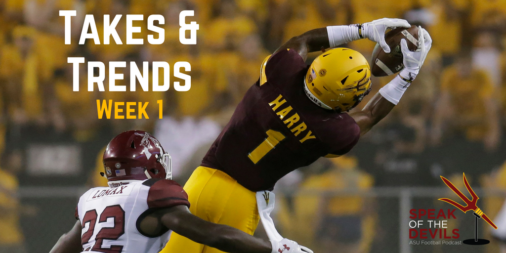 Arizona State wide receiver N'Keal Harry makes a leaping catch against New Mexico State (AP Photo/Rick Scuteri)