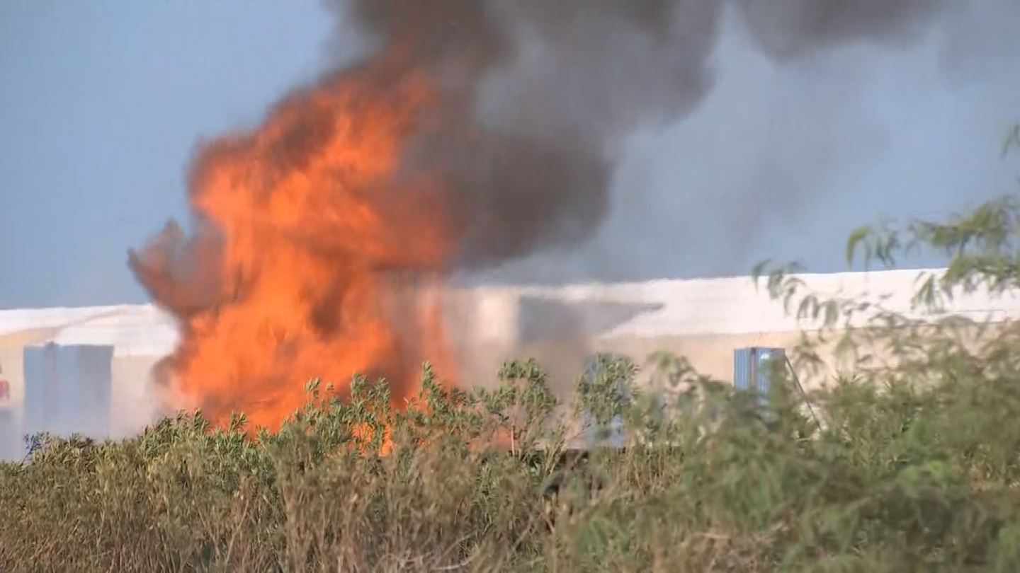 The fire seemed to be under control when a tractor trailer went up in flames. (Source: 3TV/CBS 5)