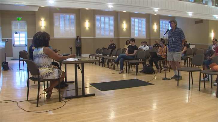 A much smaller and calmer meeting was held Tuesday in regard to the police response to the anti-Trump protest late last month. (Source: 3TV/CBS 5)