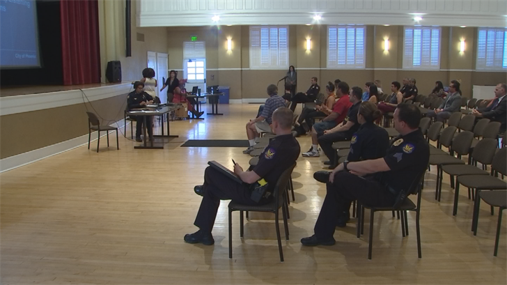 Several speakers voiced displeasure with the police response at a community listening session with Chief Jeri Williams on Tuesday night at Steele Indian School Park. (Source: 3TV/CBS 5)