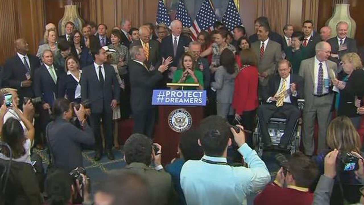 Democratic lawmakers held a news conference on Wednesday to show their support for DACA. (Source: CNN)