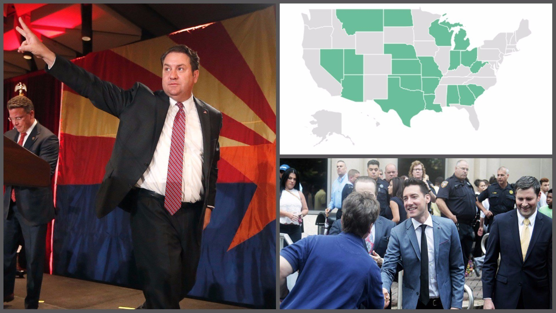 Arizona Attorney General Mark Brnovich (left) and David Daleiden of the Center for Medical Progress (lower right). (Source: AP file photos and 3TV/CBS 5)