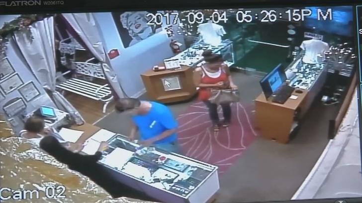 Surveillance video shows Paris and Hetzel in the little neon chapel. (Source: KVVU)