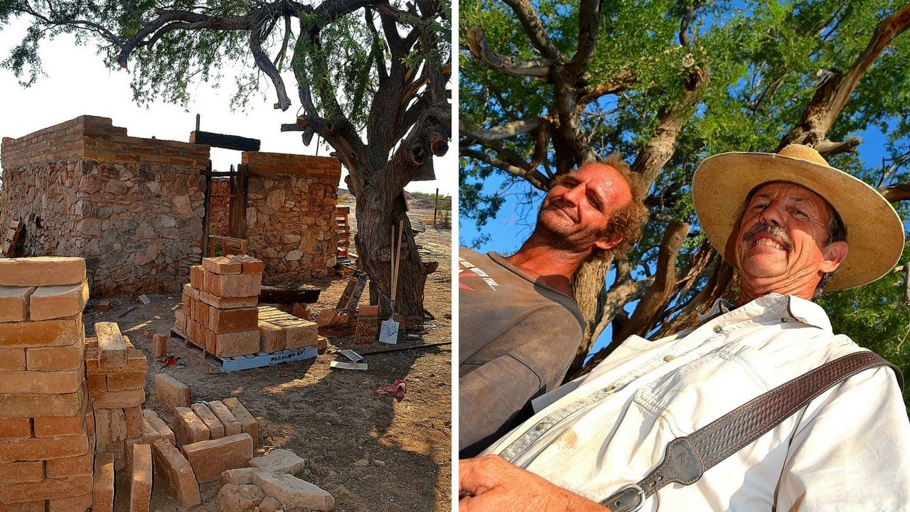 Remains of Henry Wickenburg's home. Tater and Dave Echeverria under the ironwood hanging tree. (Source: Eric Zotcavage)