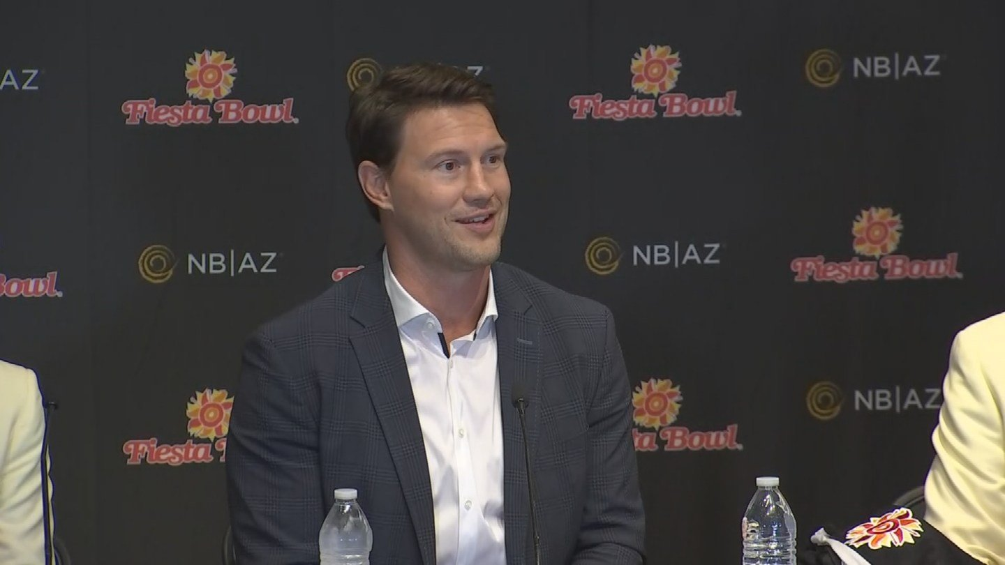 Arizona Coyotes legend Shane Doan participated in a Fiesta Bowl news conference on Sept. 11, 2017 where officials announced Doan would the Grand Marshal for the Fiesta Bowl Parade. (Source: 3TV/CBS 5)