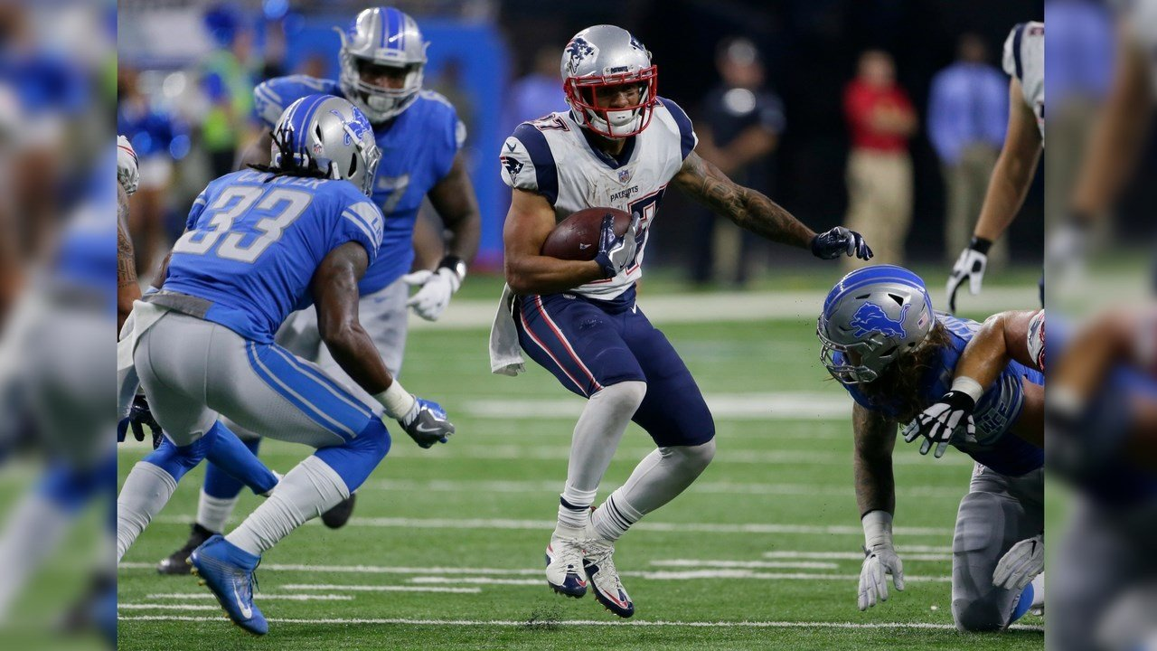 New England Patriots running back D.J. Foster (27) carries the ball against the Detroit Lions during the second half of an NFL preseason football game, Friday, Aug. 25, 2017, in Detroit. (Source: AP Photo/Duane Burleson)