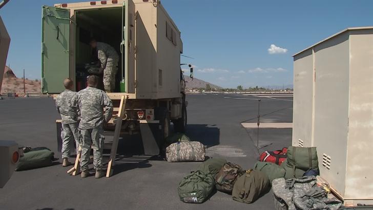 Dozens of Arizona National Guard members returned to Arizona on Monday. (Source: 3TV/CBS 5)