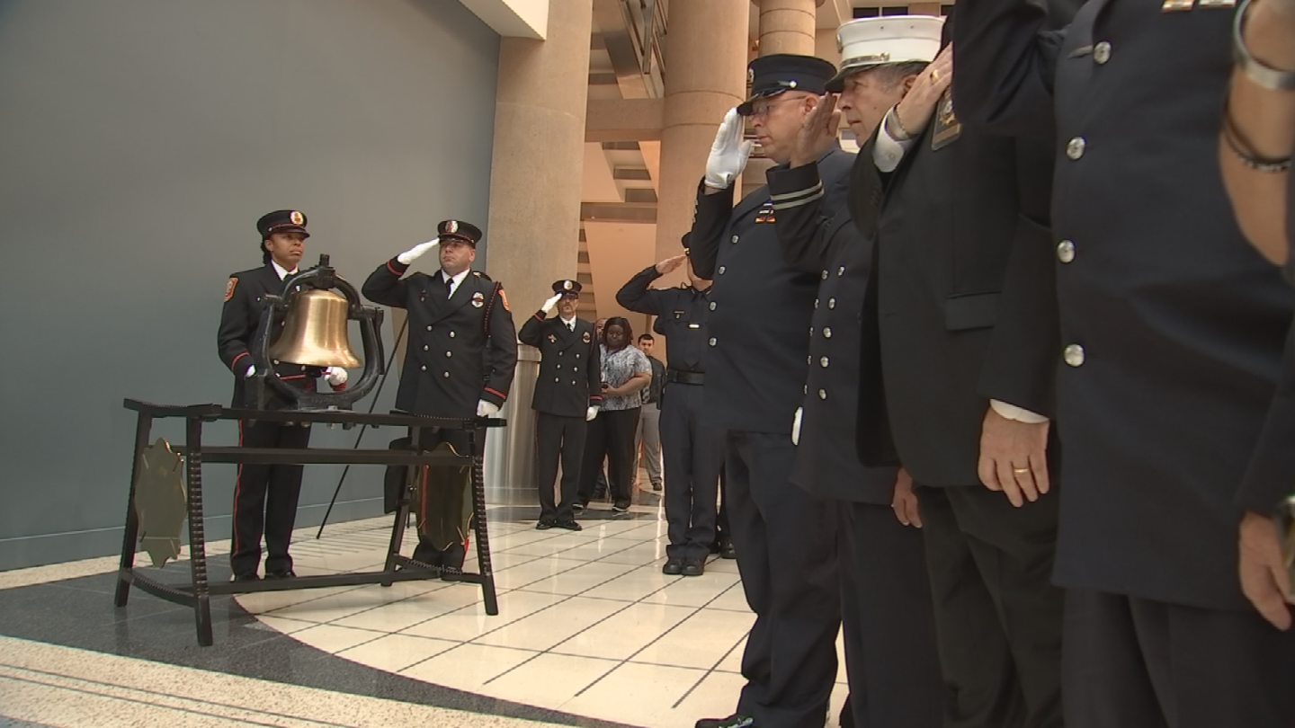 """The Fire and Police Honor Guards joined together to play """"Amazing Grace"""" and perform a bell ceremony. (Source: 3TV/CBS 5)"""