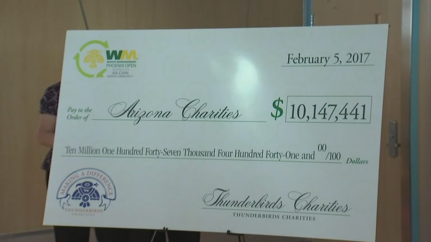 The check presentation was at Phoenix Children's Hospital, just one of the many spots that received a donation from the Thunderbirds. (Source: 3TV/CBS 5)