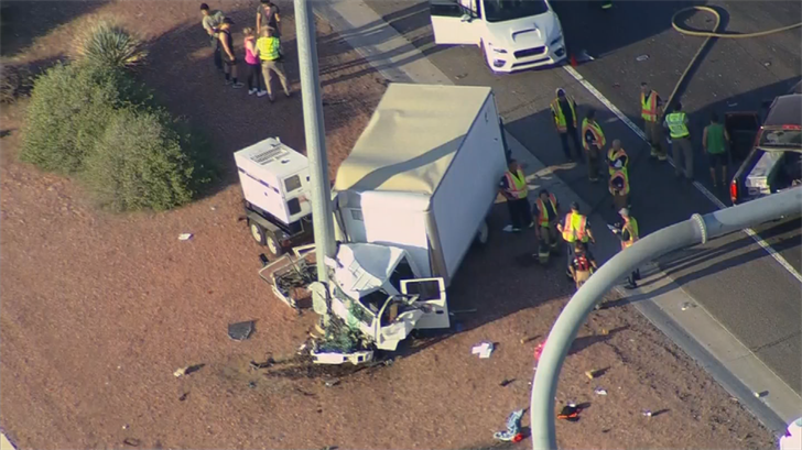One man was killed in the crash on the Loop 101 near Thomas in the west Valley. (Source: 3TV/CBS 5)