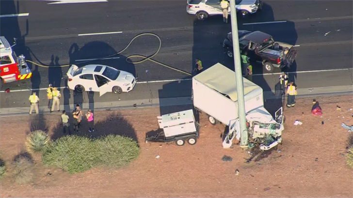 The driver lost control and slammed into a pole, firefighters said. (Source: 3TV/CBS 5)