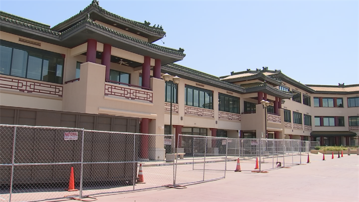 Chain link fences went up around the Chinese Cultural Center on Wednesday. (Source: 3TV/CBS 5)