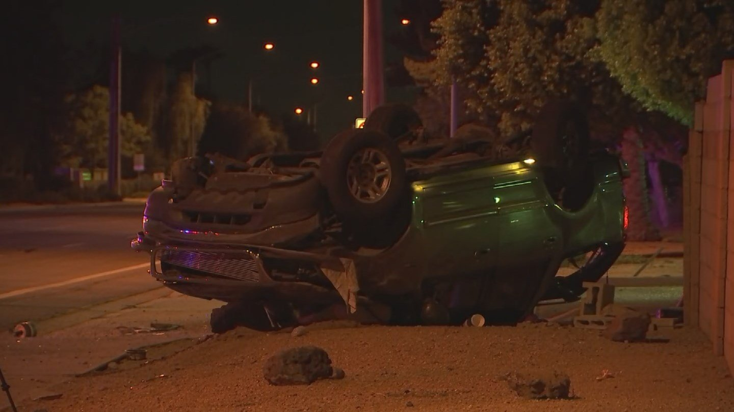 A single-vehicle rollover sent three people to the hospital in Mesa early Friday morning. (Source: 3TV/CBS 5)