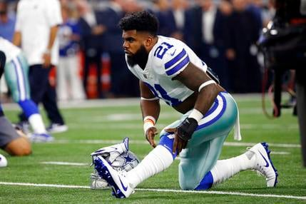 In this Sunday, Sept. 10, 2017, file photo, Dallas Cowboys running back Ezekiel Elliott warms up before an NFL football game against the New York Giants Arlington, Texas. (AP Photo/Ron Jenkins, File)