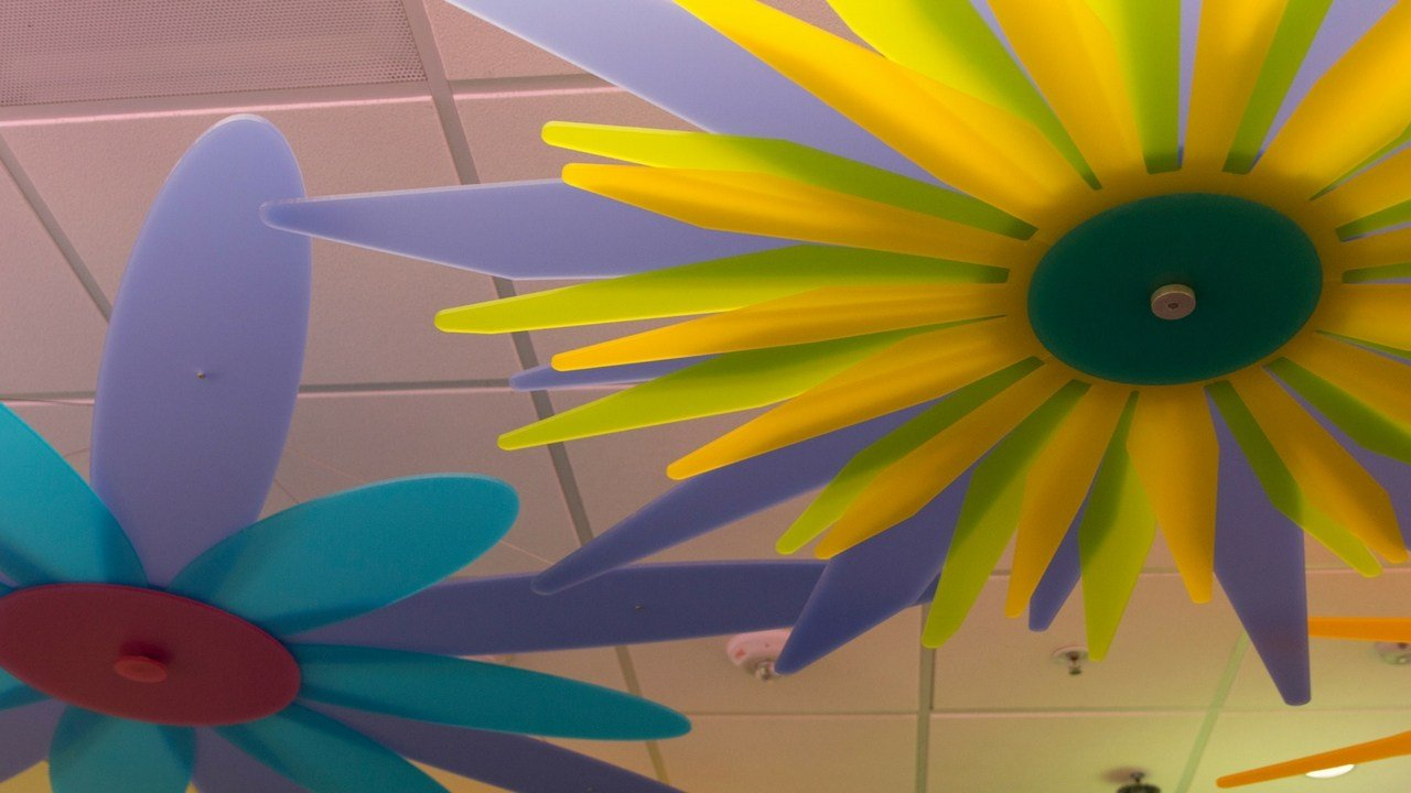 Brightly colored art installations blossom out of the ceiling at the Phoenix Children's Hospital's new emergency department.(Source: Allison Bailey/Cronkite News)