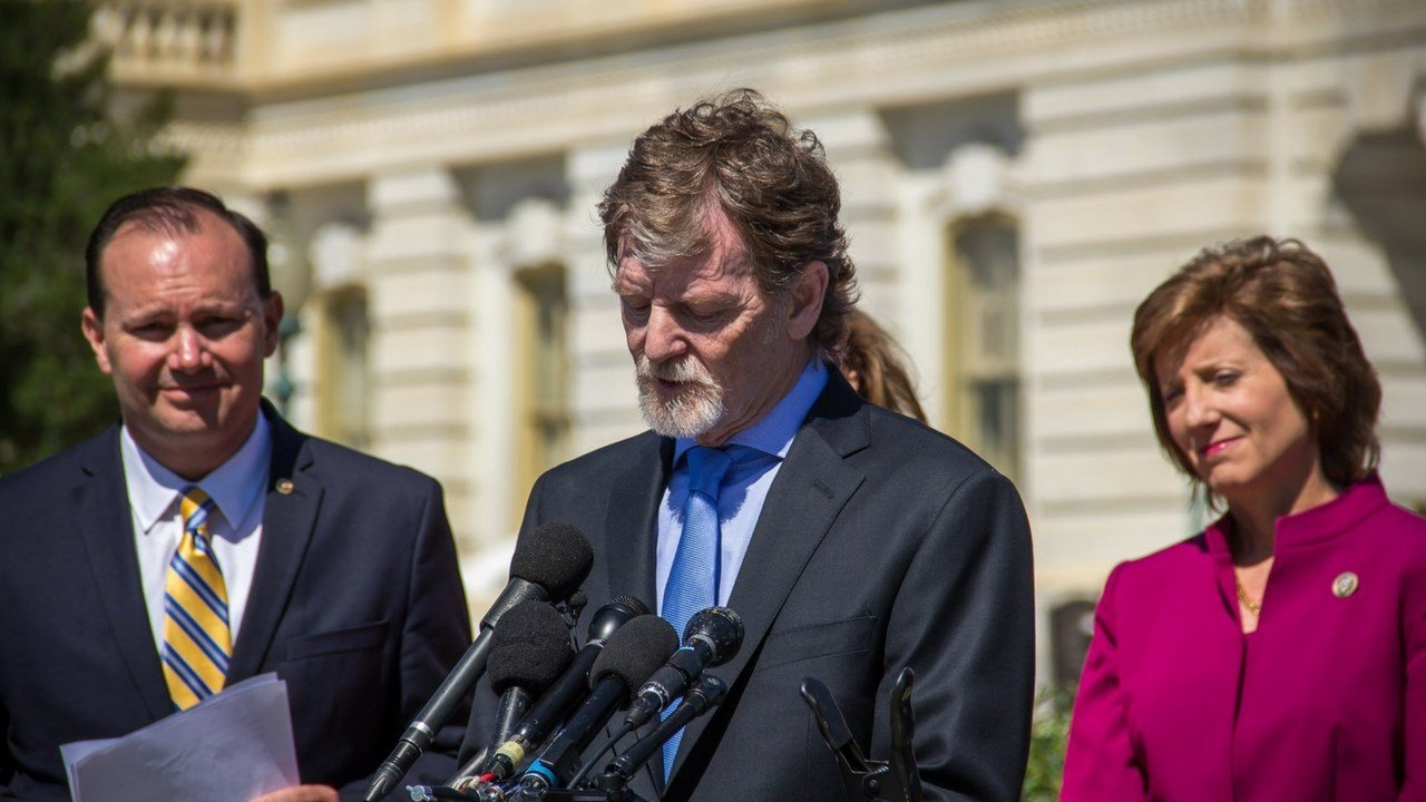 Jack Phillips, owner of Masterpiece Cakeshop, speaks at the Capitol where scores of lawmakers filed a brief backing his Supreme Court case.(Source: Adrienne St. Clair/Cronkite News)
