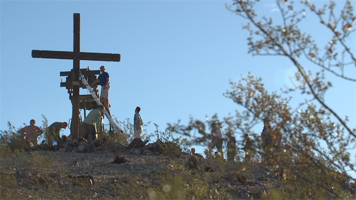 Standing 20 feet tall and weighing 600 lbs., the cross was a fixture at the intersection at 24th Street and Pecos Road for two decades. (Source: 3TV/CBS 5)