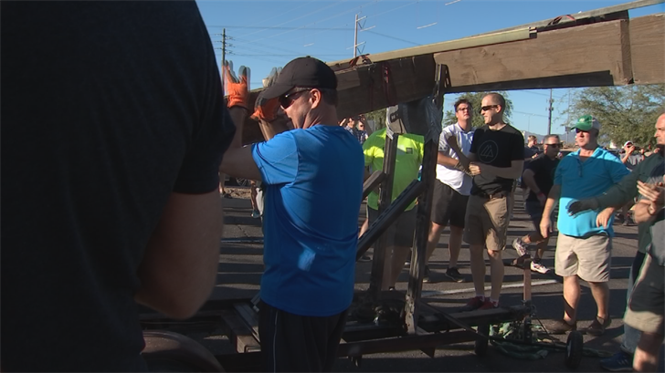 Hundreds of churchgoers and community members came together to send the cross off to its new home, which is just 3 miles away at 48th Street and Frye Road. (Source: 3TV/CBS 5)