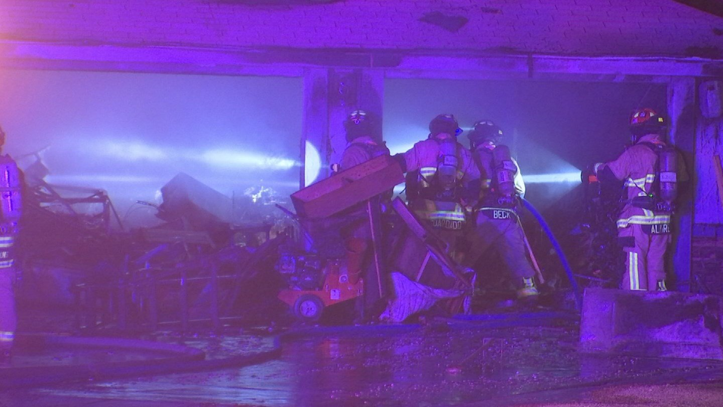 Fire crews from four different cities helped battle an overnight first-alarm house fire in Mesa that displaced eight people, according to the Mesa Fire and Medical Department. (Source: 3TV/CBS 5)
