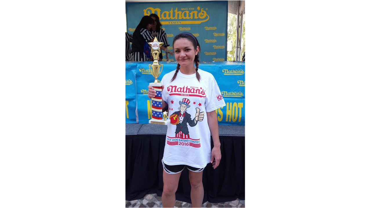 The Tucson resident is the #2 ranked female eater in the world. She recently finished second in the 2017 Nathans' Hot Dog Eating contest after eating 32 and a half hot dogs in 10 minutes. (Source: 3TV/CBS 5)