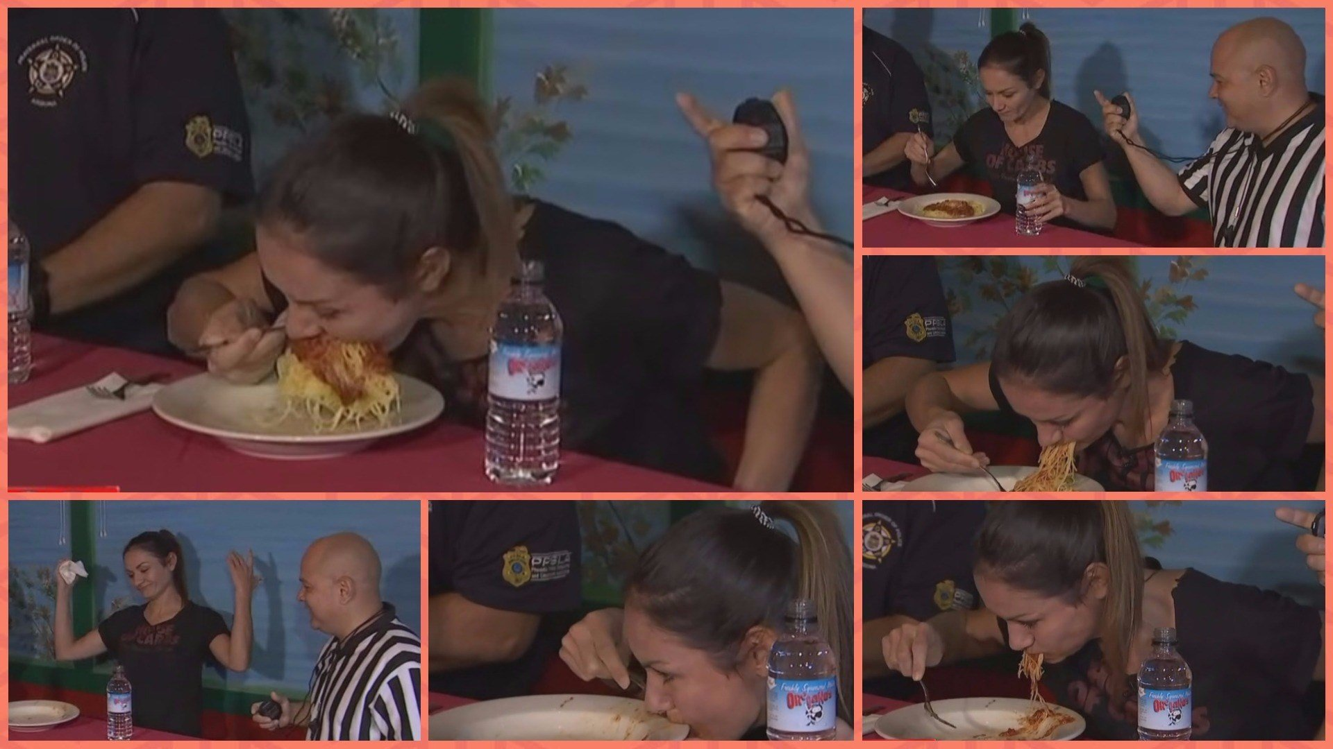 "Michelle Lesco helped to kick of Oregano's Pizza and St. Mary's Food Bank's ""Carbs For A Cause"" event Monday by breaking the world record for eating a bowl of pasta. (Source: 3TV/CBS 5)"