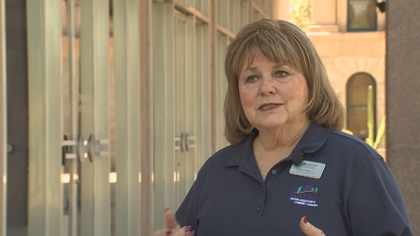 Linda Lang is president of the Arizona Association of Community Managers and insists HOAs have no interest in taking someones home but need some leverage to get homeowners to pay up. (Source: 3TV/CBS 5)